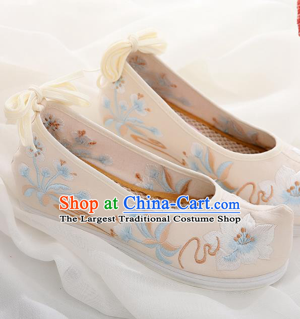 Chinese Traditional Hanfu Shoes Ancient Princess Embroidered Peach Blossom Beige Shoes National Cloth Shoes for Women