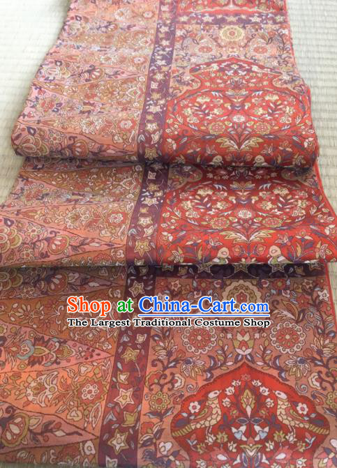 Chinese Traditional Embroidered Pattern Design Red Brocade Fabric Asian Silk Fabric Chinese Fabric Material