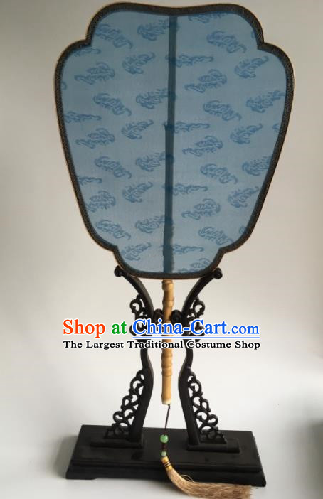Chinese Traditional Hanfu Blue Silk Palace Fans Ancient Princess Dance Fan for Women