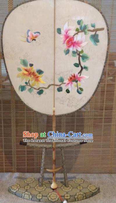Chinese Traditional Hanfu Embroidered Flowers Silk Palace Fans Ancient Princess Dance Fan for Women