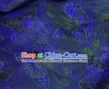 Chinese Traditional Butterfly Pattern Design Royalblue Brocade Fabric Asian Silk Fabric Chinese Fabric Material