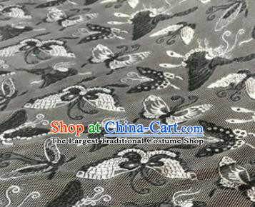 Chinese Traditional Butterfly Pattern Design Grey Brocade Fabric Asian Silk Fabric Chinese Fabric Material