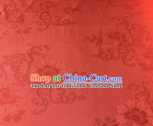 Chinese Traditional Cirrus Flowers Pattern Design Red Brocade Fabric Asian Silk Fabric Chinese Fabric Material