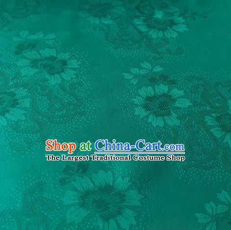 Chinese Traditional Cirrus Flowers Pattern Design Green Brocade Fabric Asian Silk Fabric Chinese Fabric Material