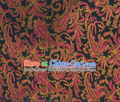 Chinese Traditional Hanfu Silk Fabric Classical Totem Pattern Design Black Brocade Tang Suit Fabric Material