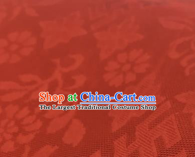 Chinese Traditional Rich Flowers Pattern Design Orange Brocade Fabric Asian Silk Fabric Chinese Fabric Material