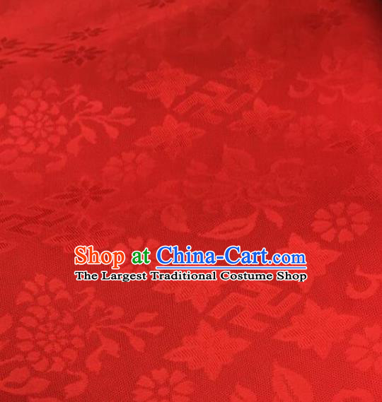 Chinese Traditional Rich Flowers Pattern Design Red Brocade Fabric Asian Silk Fabric Chinese Fabric Material