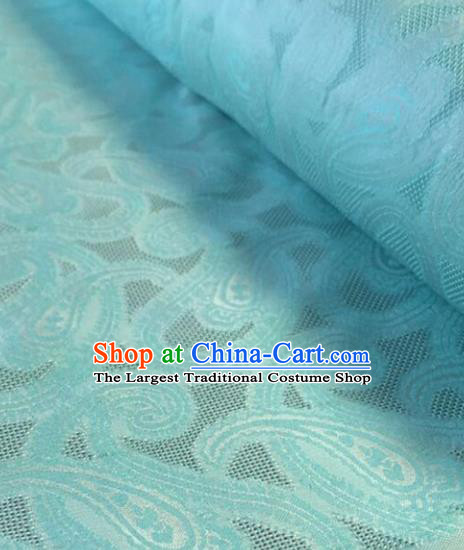 Chinese Traditional Pattern Design Blue Brocade Fabric Asian Silk Fabric Chinese Fabric Material