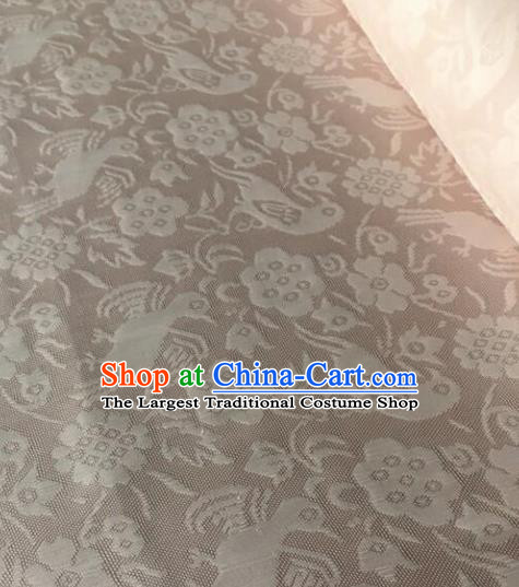 Chinese Traditional Flower Bird Pattern Design Light Brown Brocade Fabric Asian Silk Fabric Chinese Fabric Material