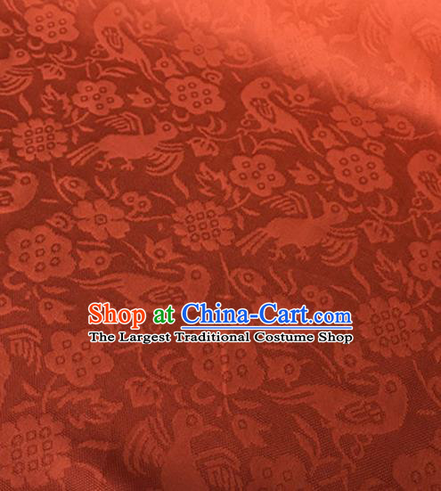 Chinese Traditional Flower Bird Pattern Design Orange Brocade Fabric Asian Silk Fabric Chinese Fabric Material