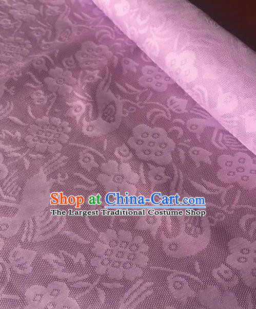 Chinese Traditional Flower Bird Pattern Design Lilac Brocade Fabric Asian Silk Fabric Chinese Fabric Material