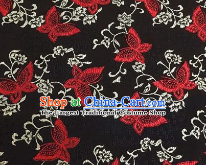 Chinese Traditional Hanfu Silk Fabric Classical Butterfly Pattern Design Black Brocade Tang Suit Fabric Material