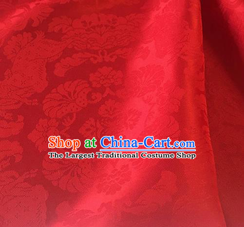 Chinese Traditional Flowers Pattern Design Red Brocade Fabric Asian Silk Fabric Chinese Fabric Material