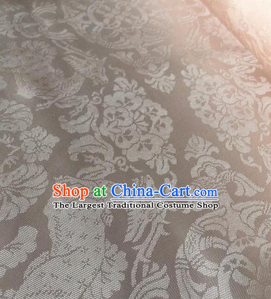 Chinese Traditional Flowers Pattern Design White Brocade Fabric Asian Silk Fabric Chinese Fabric Material