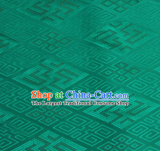 Chinese Traditional Rhombus Pattern Design Green Brocade Fabric Asian Silk Fabric Chinese Fabric Material