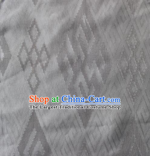 Chinese Traditional Rhombus Pattern Design White Brocade Fabric Asian Silk Fabric Chinese Fabric Material
