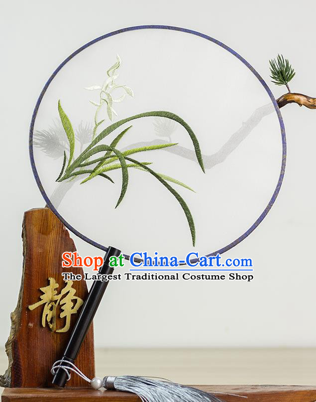 Chinese Traditional Hanfu Embroidered Orchid Palace Fans Ancient Princess Dance Silk Round Fan for Women
