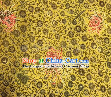 Chinese Traditional Hanfu Silk Fabric Classical Chrysanthemum Pattern Design Golden Brocade Tang Suit Fabric Material