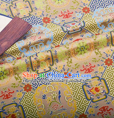 Chinese Traditional Hanfu Silk Fabric Classical Pattern Design Light Golden Brocade Tang Suit Fabric Material