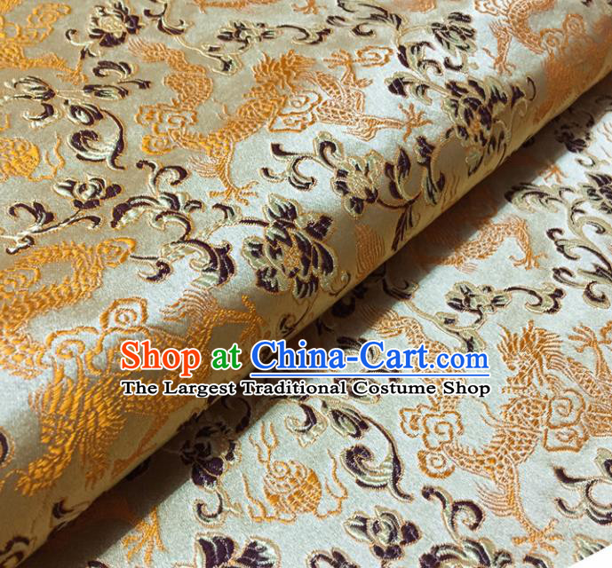 Chinese Traditional Dragons Pattern Design Beige Brocade Fabric Asian Silk Fabric Chinese Fabric Material