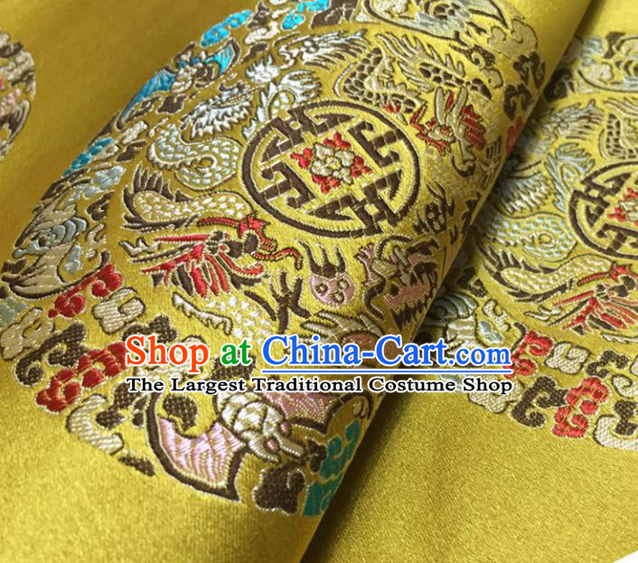 Chinese Traditional Dragons Pattern Design Yellow Brocade Fabric Asian Silk Fabric Chinese Fabric Material