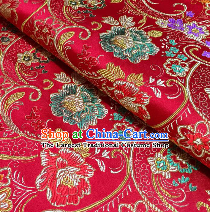 Chinese Traditional Machetes Flowers Pattern Design Red Brocade Fabric Asian Silk Fabric Chinese Fabric Material