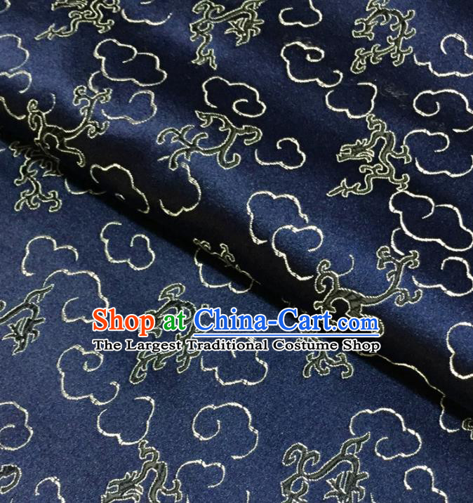 Chinese Traditional Kui Dragons Pattern Design Navy Brocade Fabric Asian Silk Fabric Chinese Fabric Material