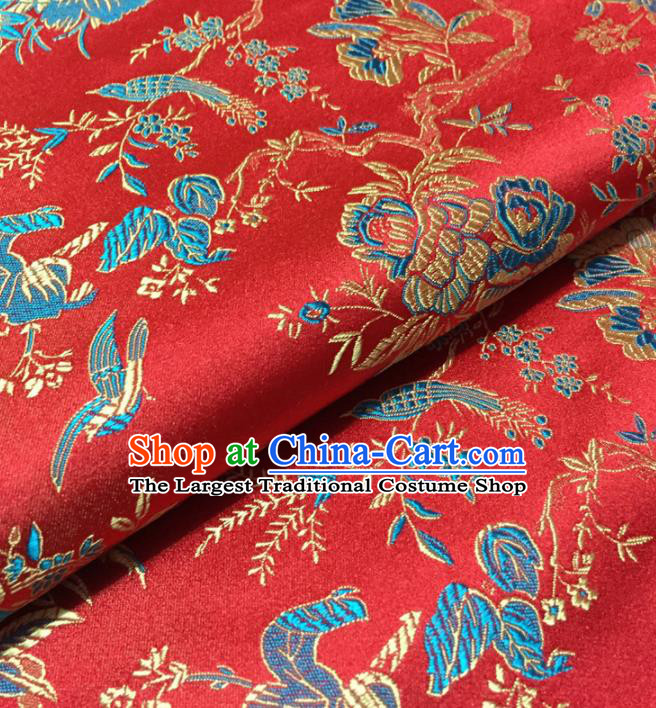 Chinese Traditional Flowers Bird Pattern Design Red Brocade Fabric Asian Silk Fabric Chinese Fabric Material