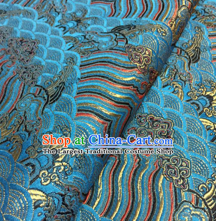 Chinese Traditional Sea Wave Pattern Design Light Blue Brocade Fabric Asian Silk Fabric Chinese Fabric Material