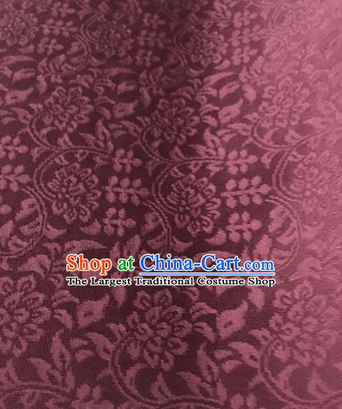 Chinese Traditional Wealth Flowers Pattern Design Wine Red Brocade Fabric Asian Silk Fabric Chinese Fabric Material