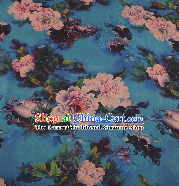 Chinese Traditional Peony Pattern Design Blue Satin Watered Gauze Brocade Fabric Asian Silk Fabric Material