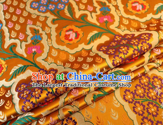 Chinese Classical Pattern Design Golden Brocade Traditional Hanfu Silk Fabric Tang Suit Fabric Material