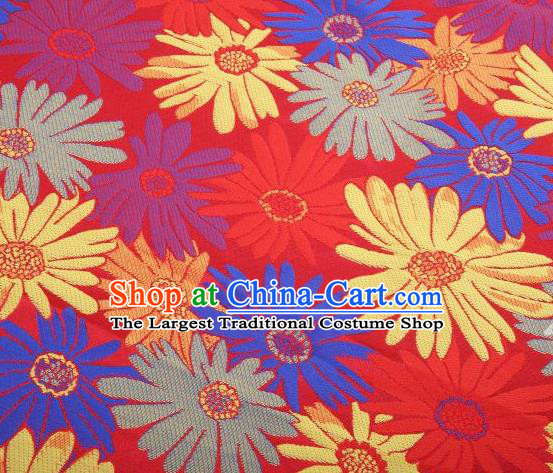 Chinese Classical Sunflowers Pattern Design Red Brocade Traditional Hanfu Silk Fabric Tang Suit Fabric Material