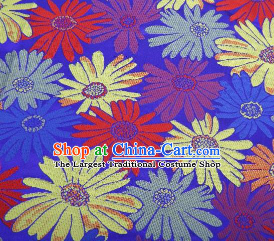 Chinese Classical Sunflowers Pattern Design Blue Brocade Traditional Hanfu Silk Fabric Tang Suit Fabric Material