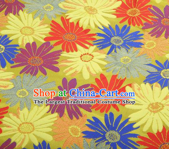 Chinese Classical Sunflowers Pattern Design Yellow Brocade Traditional Hanfu Silk Fabric Tang Suit Fabric Material