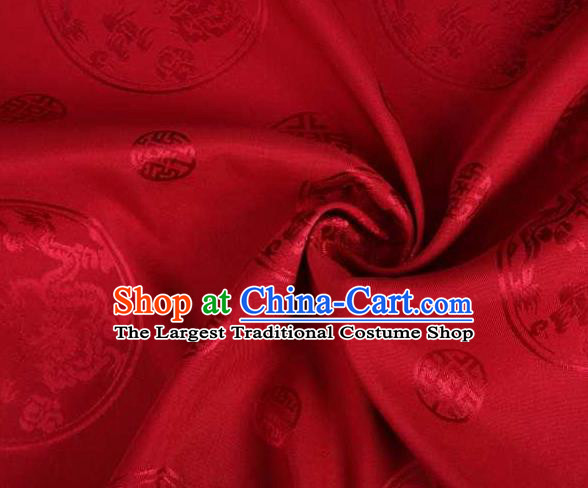Chinese Classical Round Dragon Pattern Design Red Brocade Traditional Hanfu Silk Fabric Tang Suit Fabric Material