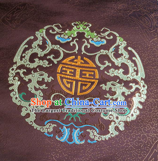 Chinese Traditional Auspicious Pattern Design Brown Brocade Fabric Asian Silk Fabric Chinese Fabric Material