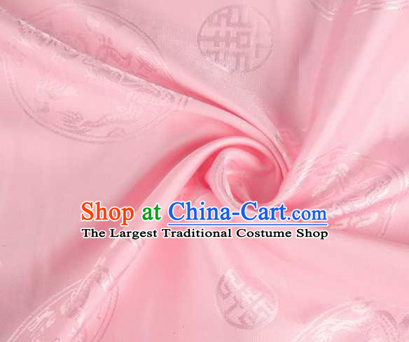 Chinese Classical Round Dragon Pattern Design Pink Brocade Traditional Hanfu Silk Fabric Tang Suit Fabric Material