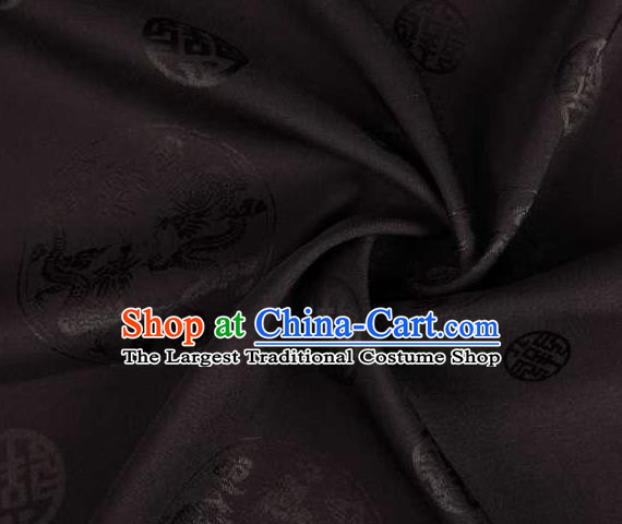 Chinese Classical Round Dragon Pattern Design Black Brocade Traditional Hanfu Silk Fabric Tang Suit Fabric Material