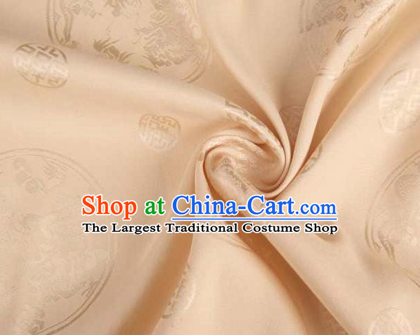 Chinese Classical Round Dragon Pattern Design Champagne Brocade Traditional Hanfu Silk Fabric Tang Suit Fabric Material