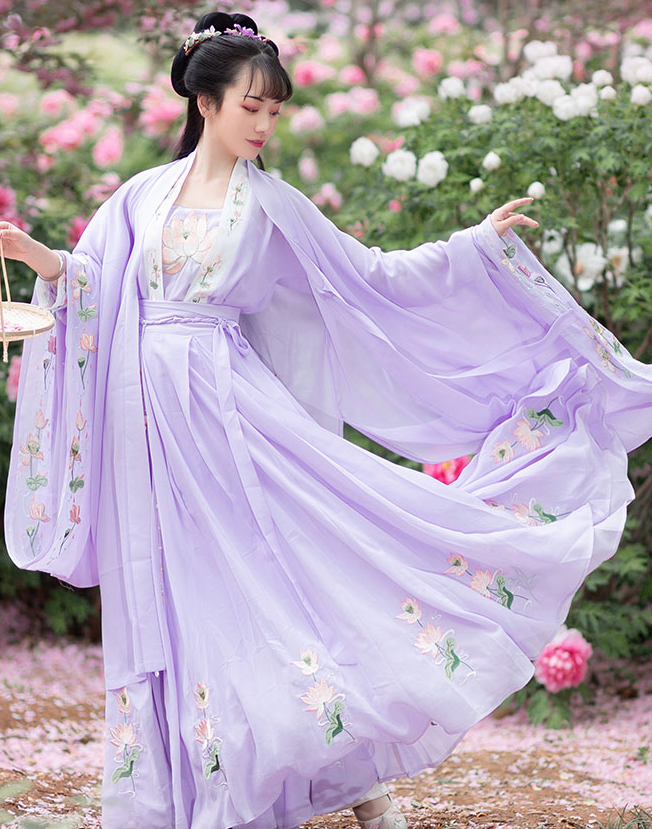 Traditional Chinese Tang Dynasty Princess Purple Hanfu Dress Ancient Peri Fairy Embroidered Historical Costume for Women
