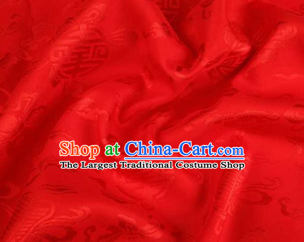 Chinese Classical Palm Leaf Pattern Design Red Brocade Traditional Hanfu Silk Fabric Tang Suit Fabric Material