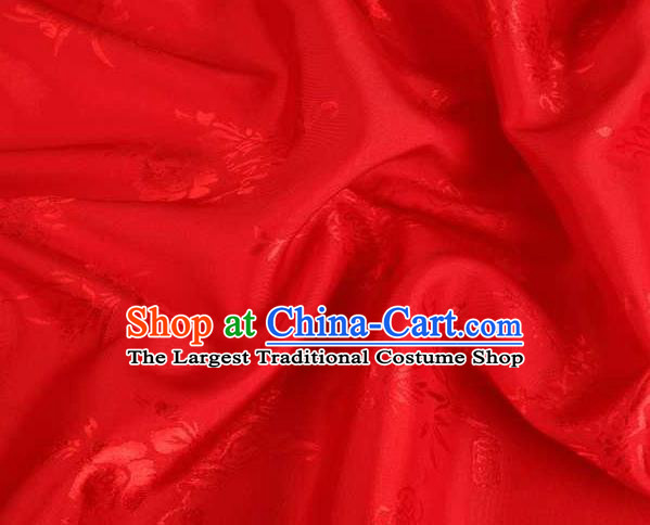 Chinese Classical Begonia Pattern Design Red Brocade Traditional Hanfu Silk Fabric Tang Suit Fabric Material