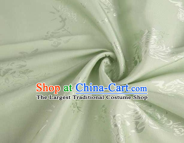 Chinese Classical Chrysanthemum Pattern Design Green Brocade Traditional Hanfu Silk Fabric Tang Suit Fabric Material