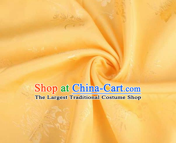 Chinese Classical Chrysanthemum Pattern Design Yellow Brocade Traditional Hanfu Silk Fabric Tang Suit Fabric Material
