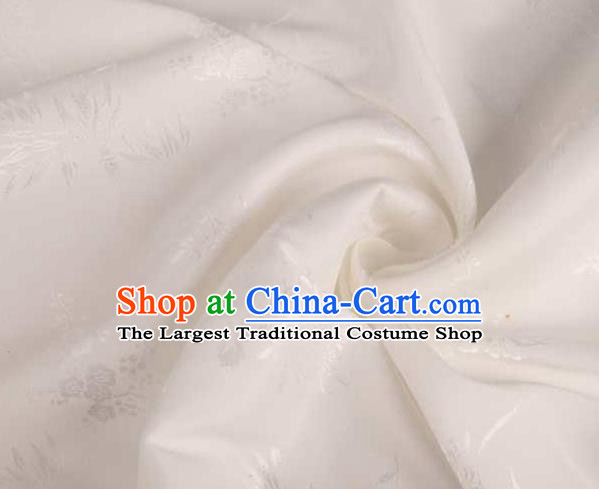 Chinese Classical Chrysanthemum Pattern Design White Brocade Traditional Hanfu Silk Fabric Tang Suit Fabric Material