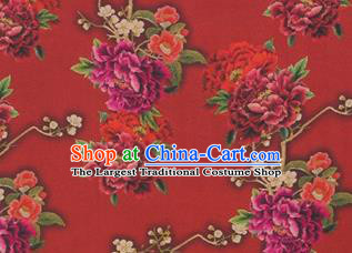 Chinese Traditional Peony Flowers Pattern Design Red Satin Watered Gauze Brocade Fabric Asian Silk Fabric Material
