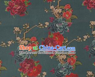 Chinese Traditional Peony Flowers Pattern Design Dark Green Satin Watered Gauze Brocade Fabric Asian Silk Fabric Material
