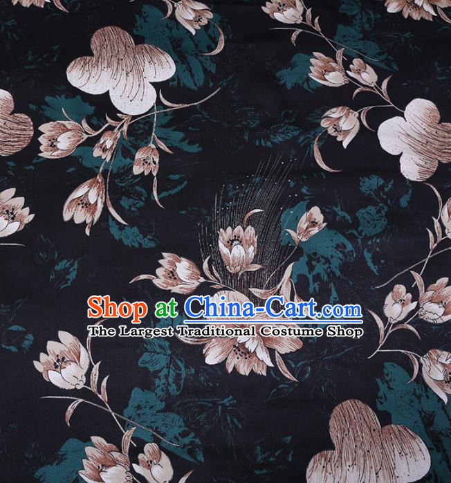 Chinese Traditional Flowers Pattern Design Atrovirens Satin Watered Gauze Brocade Fabric Asian Silk Fabric Material