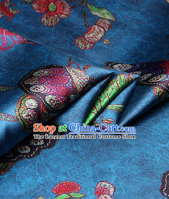 Chinese Traditional Butterfly Pattern Design Blue Satin Watered Gauze Brocade Fabric Asian Silk Fabric Material